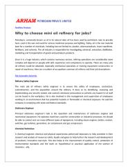 Why to choose mini oil refinery for jobs.doc